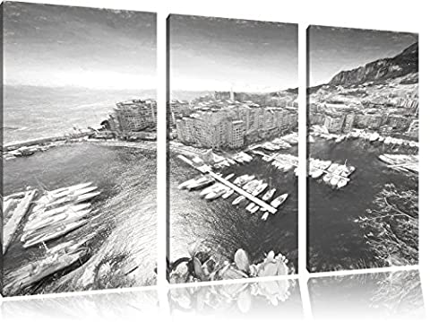Stunning coast of Monaco charcoal effect 3-piece canvas picture 120x80 image on canvas, XXL huge Pictures completely framed with stretcher, art print on mural frame gänstiger as painting or an oil painting, not a poster or