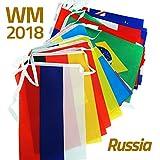 WM 2018 Russland Länderflaggen Wimpelkette ca. 10.50 m, 20x29 cm zur Fußball-Weltmeisterschaft Flaggenkette Girlande