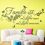 Grandora W5458 Wandtattoo Wandaufkleber Familie ist wo Leben beginnt Spruch Wohnzimmer Flur schwarz (BxH) 130 x 66 cm