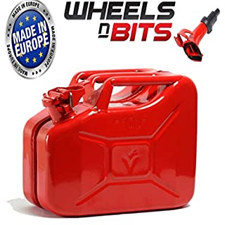 Wheels N Bits NEW 10 LITRE RED JERRY MILITARY CAN FUEL OIL WATER PETROL DIESEL STORAGE TANK WITH SPOUT