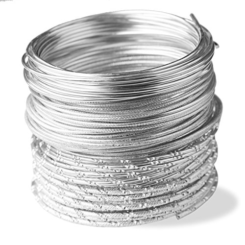 Creacraft set fili per gioielli silver Styles, 25m filo di alluminio con diversi effetti (5m per stile)
