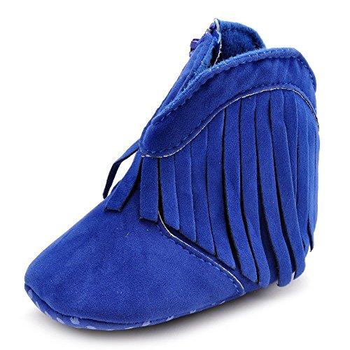 Estamico Weiche Sohle Babyschuhe mädchen Quasten Baby Stiefel Blau