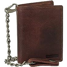 Bourse en cuir de luxe avec chaîne - Porte-monnaie pour motard - 13,5cm Plusieurs couleurs: noir, marron, beige., Noir