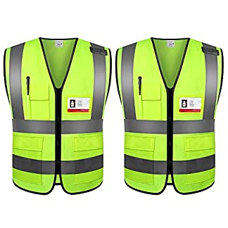 2pcs Chaleco de Seguridad con Bolsillos, 360Grados Reflectante Chaleco de Advertencia para la circulación, la conducción y el Trabajo de Noche, Talla Standard para Hombres y Mujeres (L)
