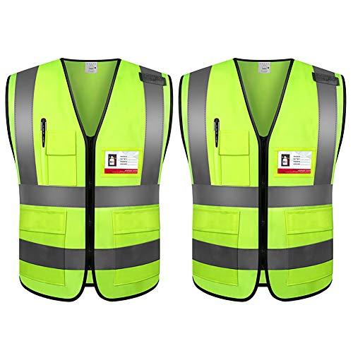 Sicherheitsweste mit Taschen, 360 Grad hohe Sichtbarkeit, Warnweste für Durchblutung, Autofahren und Nachtarbeiten, Standardgröße für Männer und Frauen (L)