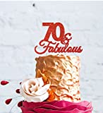 LissieLou 70 & Fabulous - 70th Birthday Cake Topper - Swirly - Glitter Red
