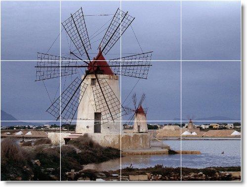MOLINO FOTO DUCHA TILE MURAL W005  24X 32CM CON (12) 8X 8AZULEJOS DE CERAMICA