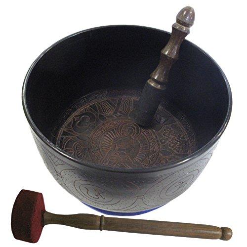 Bronze Reinigungs Klangschale mit Gravur + Zubehör ca. 1,4 Kg aus Tibet | 3er-Set mit Klöppel und Kissen #70014