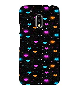 For Motorola Moto G4 :: Moto G (4th Gen) heart, many heart, colorful heart, black wallpapr Designer Printed High Quality Smooth Matte Protective Mobile Case Back Pouch Cover by Paresha