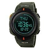 BesWLZ Herren Uhr Digital Quarz mit Plastik Armband Wasserdicht Kompass Wasserdicht 0721 Grün