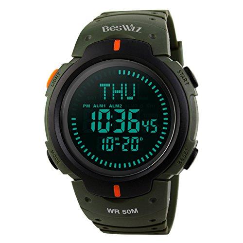 BesWlz Herren Armbanduhr Military Digital Uhr Sport Wasserdicht Outdoor Electronic Army LED Rücklicht Display Alarm Stoppuhr mit Kompass 50M Wasserdicht Herren Uhren (Green)