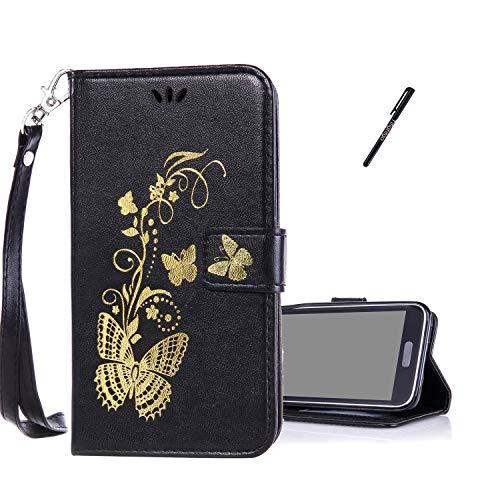 Tifightgo Galaxy S5 Mini Lederhülle,Schutzhülle Schwarz Leder Brieftasche im Bookstyle Hülle für Samsung Galaxy S5 Mini Gold Schmetterling Blumen Prägung Flip Standfunktion mit Handschlaufe Handyhülle