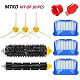 MTKD Kit Brushes Replacement for iRobot Roomba 600Series–Kit of 10Pieces Accessories (Side Brushes, Filters, Bristle Brush and etc.) for Vacuum Cleaner Robot.