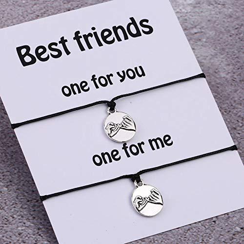 Imagen de pulsera de compromiso de los amantes de la pareja pinky de las mujeres amistad pinky jewelry best friends gift silver pendant negro