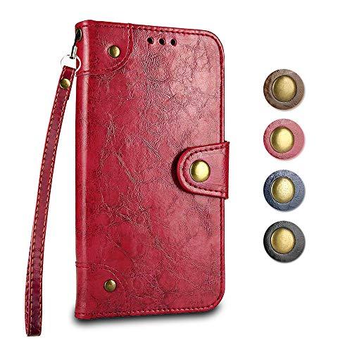 Galaxy J7 2016 Cover GORASS Luxury PU Flip Custodia Portafoglio con Slot per Schede e Funzione Staffa per Samsung Galaxy J7 2016 Rosso