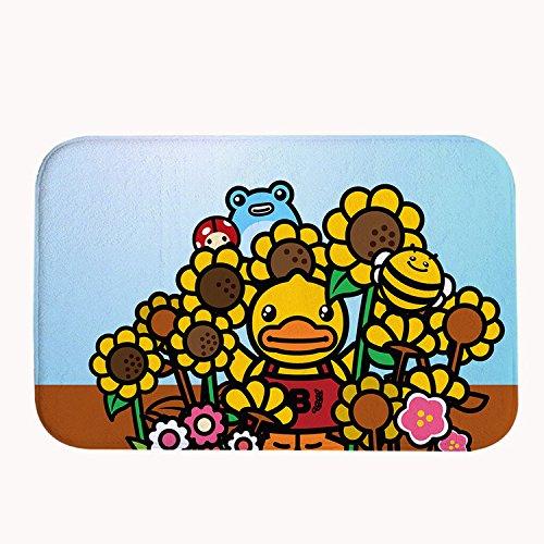 Rioengnakg carino giallo anatra e Bee scendibagno in pile corallo tappeto zerbino d' ingresso tappeto tappetini per anteriore fuori porta entrata tappeto, 20