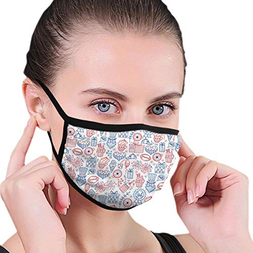 4 July USA Pattern Anti Flu And Saw Dust Masks,Reusable Mask Washeable Comfy Breathable Safety Face Mouth Mask-For Outdoor Half Face Masks