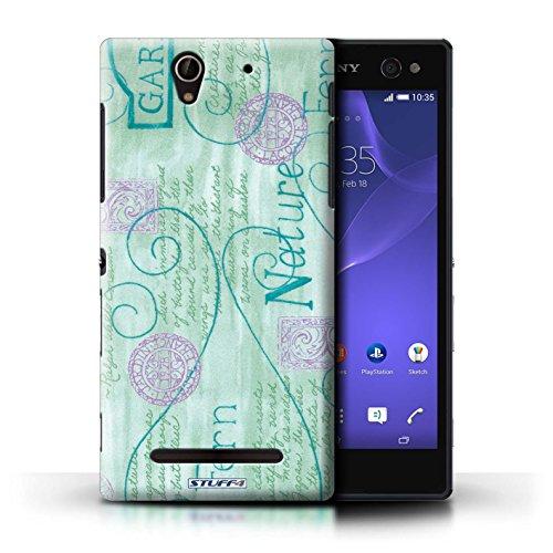 Kobalt® Imprimé Etui / Coque pour Sony Xperia C3 / Jaune conception / Série Motif Nature Turquoise / Violet