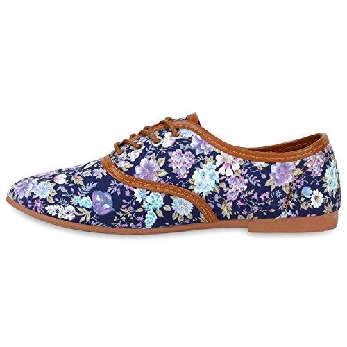 Damen Halbschuhe Party Schuhe Glitzer Blau Blumen