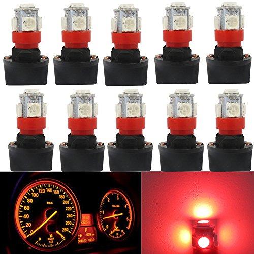 WLJH 10 stücke Super Helle Rote T10 PC194 LED Glühbirne 5SMD 5050 Chipsatz LED Instrumententafel Gauge Cluster Tachoanzeige Lampen mit 1/2