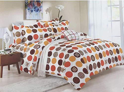 Bullahshah Círculos, Puntos y diseño Abstracto Juego de sábanas Funda nórdica con Fundas de Almohada, Blanco/marrón / Naranja (Rey)