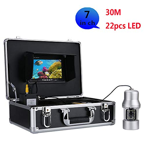 OUT-L 30M professionelle UnterwasserFischerei Video Kamera Fisch Finder 7 Zoll FarbbildSchirm WasserDicht 22 LEDs 360 Grad rotierende Kamera