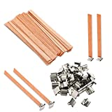 VABNEER Wood Candle Wicks with Iron Stand Sustainer for Handmade DIY Craft Making 13 x 130mm(50 Sets)