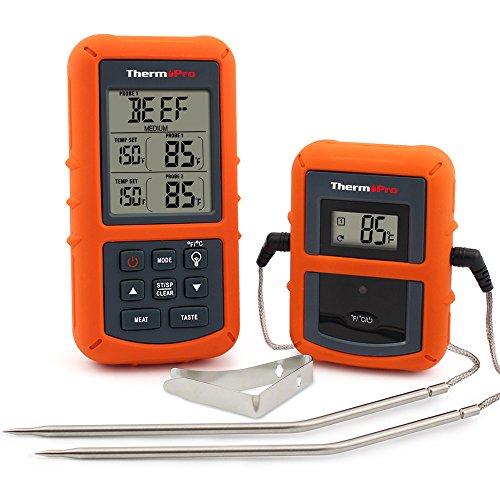 ThermoPro TP20 Digital BBQ Funk Thermometer Wireless mit 2 Temperaturfühlern für BBQ, Ofen und Grills
