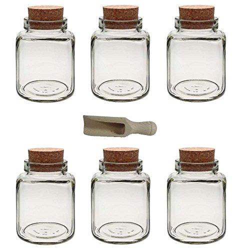 Viva-Haushaltswaren - 6 Gewürzgläser 395 ml, Glasdosen, Teedosen mit Korkverschluss für Gewürze, Salz, Gastgeschenke, usw, - inklusive einer kleinen Holzschaufel