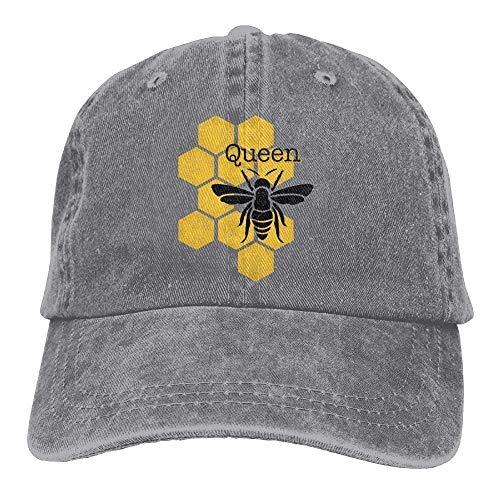 Bgejkos Queen Honeybee Honeycomb Bee Denim-Hut verstellbare Unisex-Baseballmützen QW7024 -