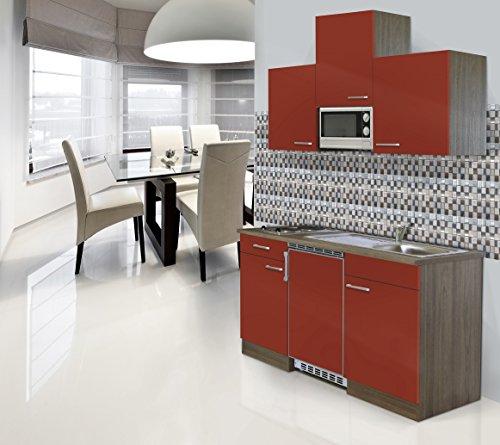 Respekta Installation Mini Cuisine Single Bloc 150 cm Imitation chêne York Rouge