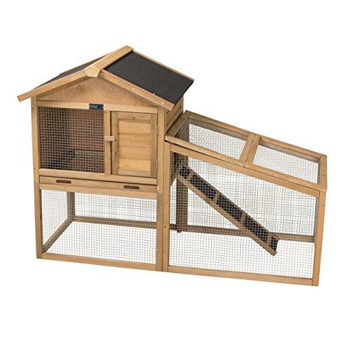 Hasenstall / Kaninchenstall JASMIN mit Außengehege aus massivem Tannen-Holz in 144x65x100 cm - Kleintier-Stall für Draußen - Wetterfester Schutz & Rückzugsort für Hase & Kaninchen im Winter &