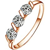Yoursfs 3 Stone Engagement Rings Use 0.5ct Simulated Diamond 18k Rose Gold Plated