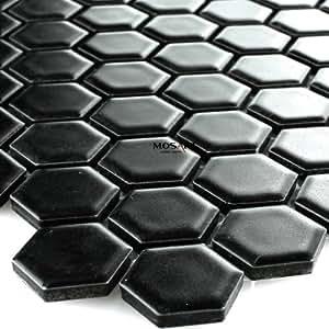 c ramique mosa que carrelage nid d 39 abeilles noir mat bricolage. Black Bedroom Furniture Sets. Home Design Ideas