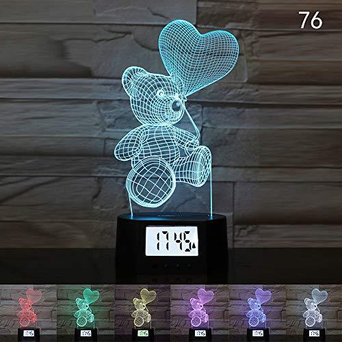 New Rose Bär Herz 3D illusion Kalender Uhr Lampe LED USB Nachtlicht 7 Farben Tier Baby Schlaf Beleuchtung Wohnkultur Kinder Geschenk