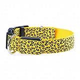 Sixminyo Haustier Hundehalsband USB wiederaufladbarer LED-Leopardenmuster für kleine bis große Hunde (Color : Yellow, Size : S)