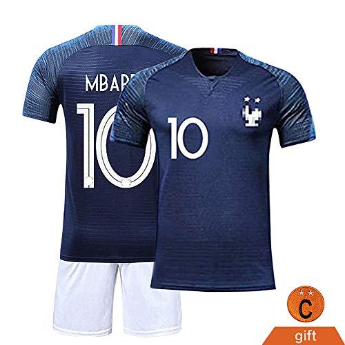 Fine Finet Maillots de Sport Garçon Football T-Shirt et Short France 2 Étoiles Vêtements de Football N° 10 Beau Populaire pour Enfant Garçon, Bleu