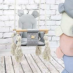 BAMBINIWELT Babyschaukel Babysitz Kinderschaukel Stoff Holz Deckenaufhängung (grau)