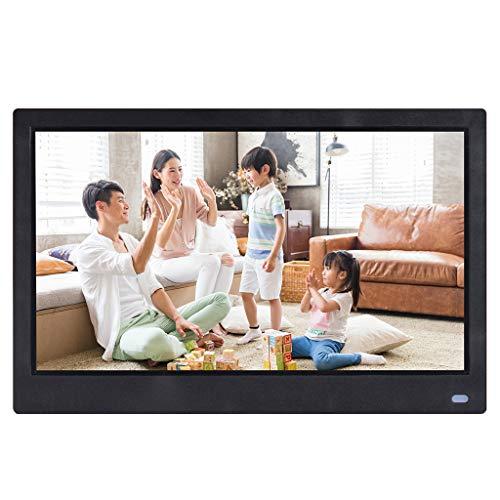 Hukz 12,5-Zoll-HD ohne menschlichen Körper Induktionsvideoplayer digitaler Multifunktionsrahmen,Front-Screen-Taste Digitaler Fotorahmen mit hochauflösendem Bildschirm (Schwarz)
