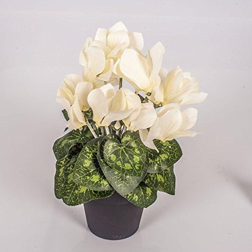 artplants – Kunstblume Alpenveilchen Heidi im Topf, 12 Blüten, Creme, 25 cm – Künstliche Blumen/Dekoblumen Cyclamen