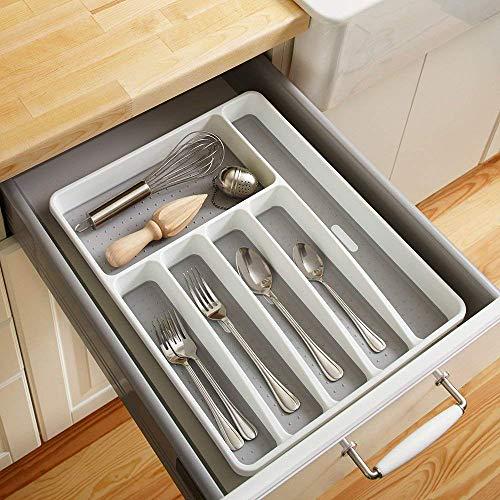 Weehey Organizer per cassetti Posate Portaposate Utensili per Posate Utensili da Cucina 6 sezioni per Cucina Ufficio Sala da Pranzo