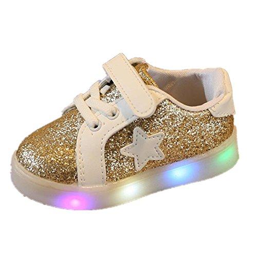 FNKDOR 1-6 Jahre Unisex Baby Junge Mädchen LED Licht Mode Star Sneaker Kinder Kleinkind Schuhe (29 Fußlänge:18.2CM, Gold)