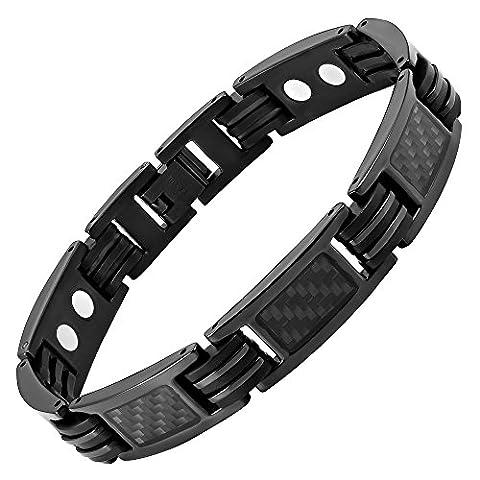 Willis Judd Mens Black Titanium Magnetic Bracelet Featuring Black Carbon