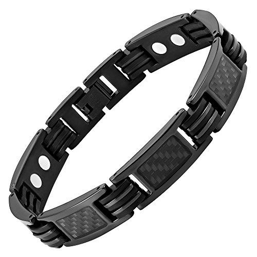 Willis Judd magnetische Herren-Armband aus schwarzen Titan mit schwarzen Carbon-Einsätzen in schwarzen Samtgeschenkpackung + kostenlose Gerät für Gliedentfernung