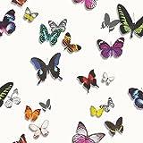 Arthouse Bahia Schmetterling Muster Tapete Silber Schmetterlinge Metallisches Motiv - Weiß 690401