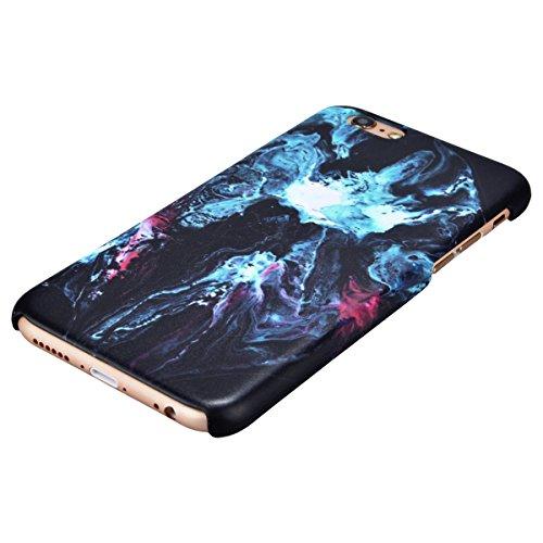Coque iPhone 6S, Housse iPhone 6, GrandEver Marbre Case for Apple iPhone 6S 6 Housse Rigide Couleur Stitching Motif Plastique Arrière Couverture Haute qualité Cas Dure Coquille Dessein Spécial Flexibl Marbre Bleu