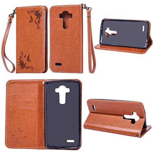 Cozy hut cover in pelle lg g4 custodia portafoglio con [3 slot per schede] [chiusura magnetica] [kickstand] cover a libro per lg g4 - farfalla marrone rosa