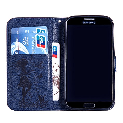 Felfy Coque Etui pour Samsung Galaxy S4,Galaxy S4 Coque Dragonne Portefeuille PU Cuir Etui,Galaxy S4 Etui Cuir Folio Housse Rose Or Tournesol 3D en Relief Motif Leather Case Wallet Flip Protective Cov Chat Bleu Marine