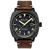 SPINNAKER Men's Hull California 42mm Brown Leather Band IP Steel Case Automatic Analog Watch SP-5071-03
