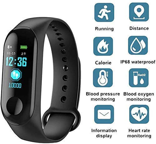 RAMJI ONLINE M3 Smart Band Fitness Tracker Watch Heart Rate with Activity Tracker Waterproof Body Functions Like Calorie Counter Blood Pressure Monitor OLED Touchscreen